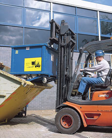 Auto Dumping Forklift skip - view bigger image